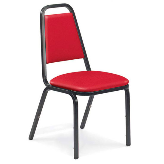 Upholstered Stack Chair With 2u201d Dome Seat And Metal Frame