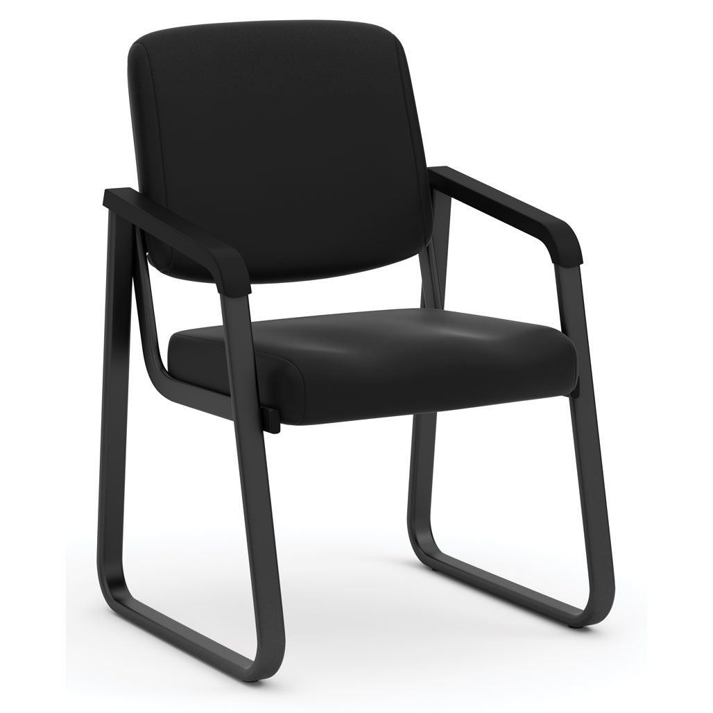 Sled Base Guest Chair with Antimicrobial Vinyl Upholstery and Black Frame