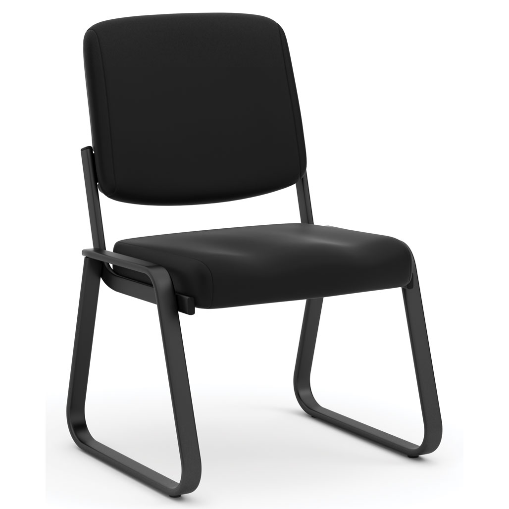 OfficeSource Value Collection Armless, Sled Guest Base Chair with Antimicrobial Vinyl Upholstery and Black Frame
