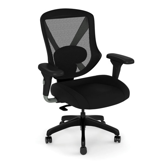Mid Back Mesh Task Chair with Fabric Seat and Black Base