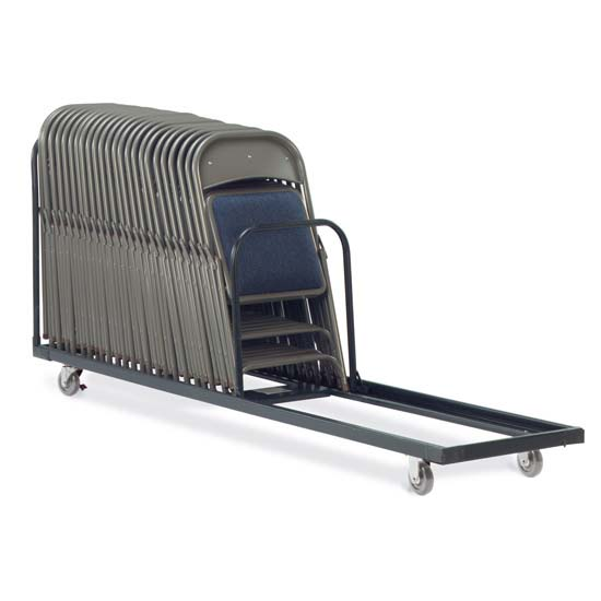 Folding Chair Storage Cart with Char Black Finish