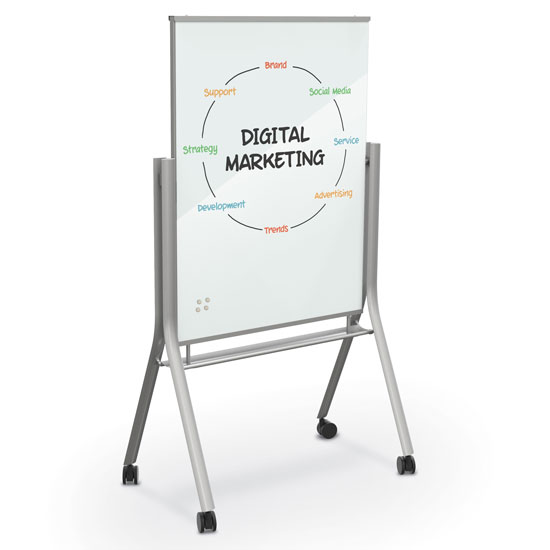 Visionary Curve Mobile Magnetic Glass Board