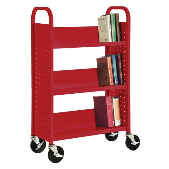 "27""W Single Sided Booktruck with Three Shelves"