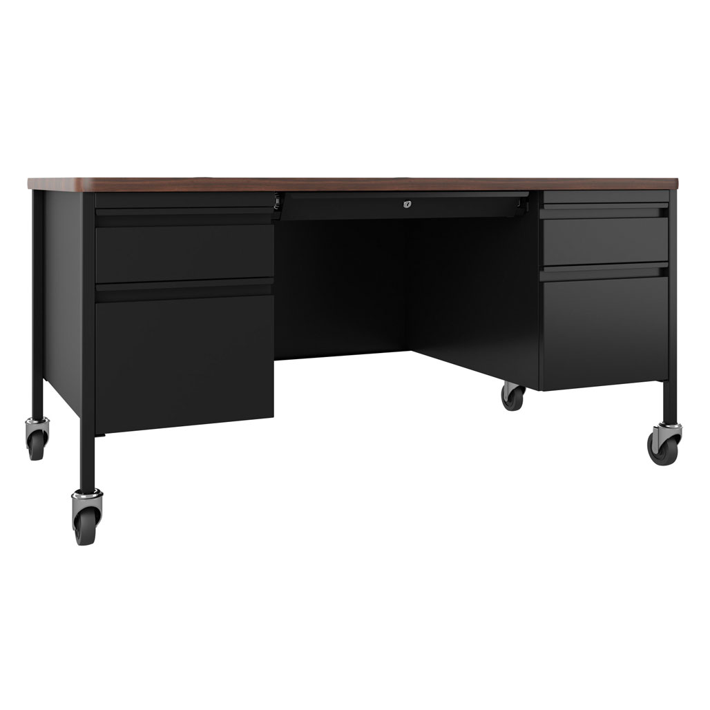 OfficeSource Whitley Collection Mobile Double Pedestal Teacher's Desk – 60″W x 30″D