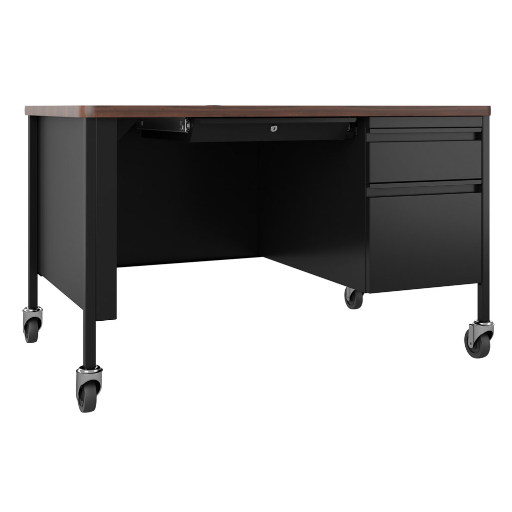 OfficeSource Whitley Collection Right Hand, Single Pedestal Desk with T-Mold Top – 48″W x 30″D