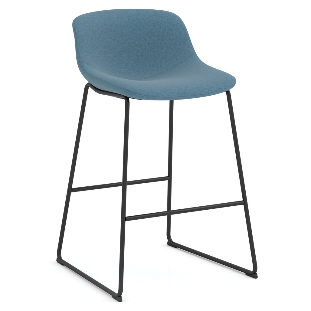 OfficeSource Willow Collection Cafe Height Bistro Stoolwith Black Sled Base