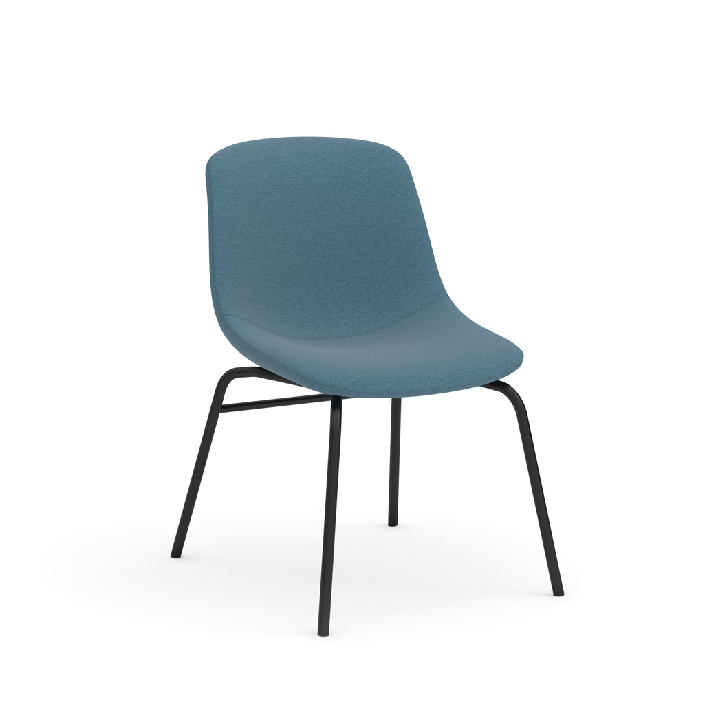OfficeSource Willow Collection Mid Back Guest Chair with Black Leg Base