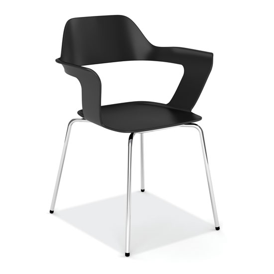 Stackable Sled Base Chair with Chrome Frame