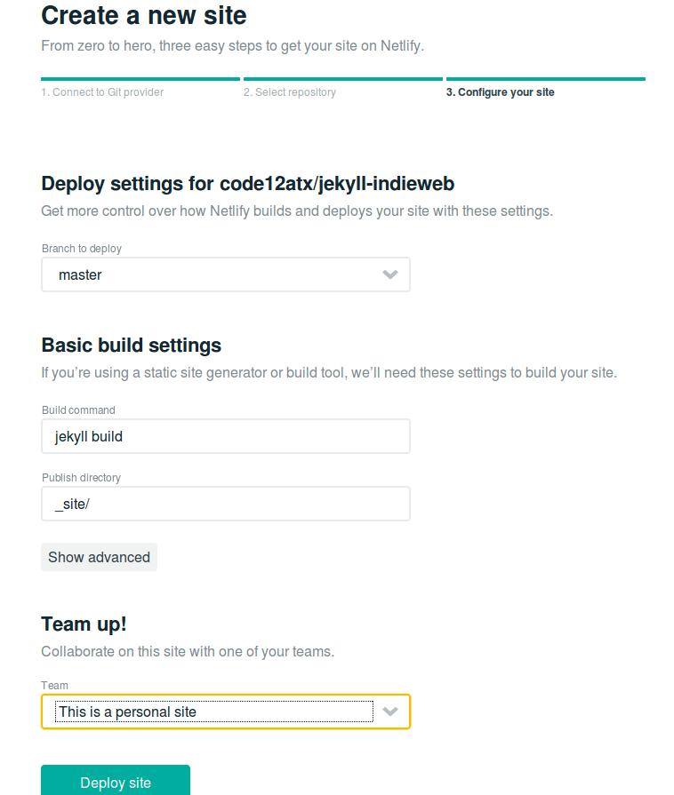 Configure site