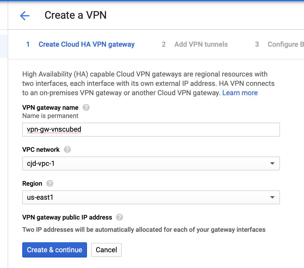 Creating a Cloud HA VPN gateway
