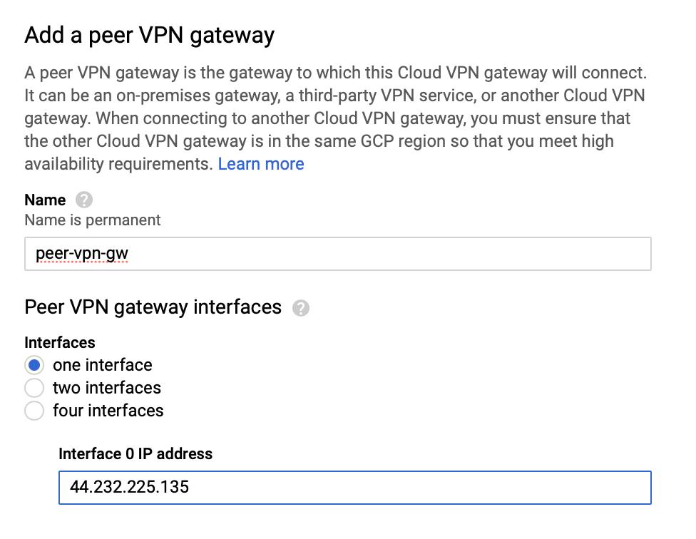 Creating a peer VPN gateway