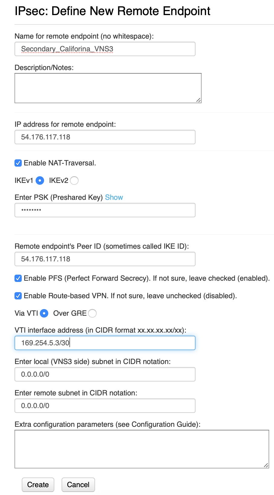 VNS3 customer to primary routes configuration