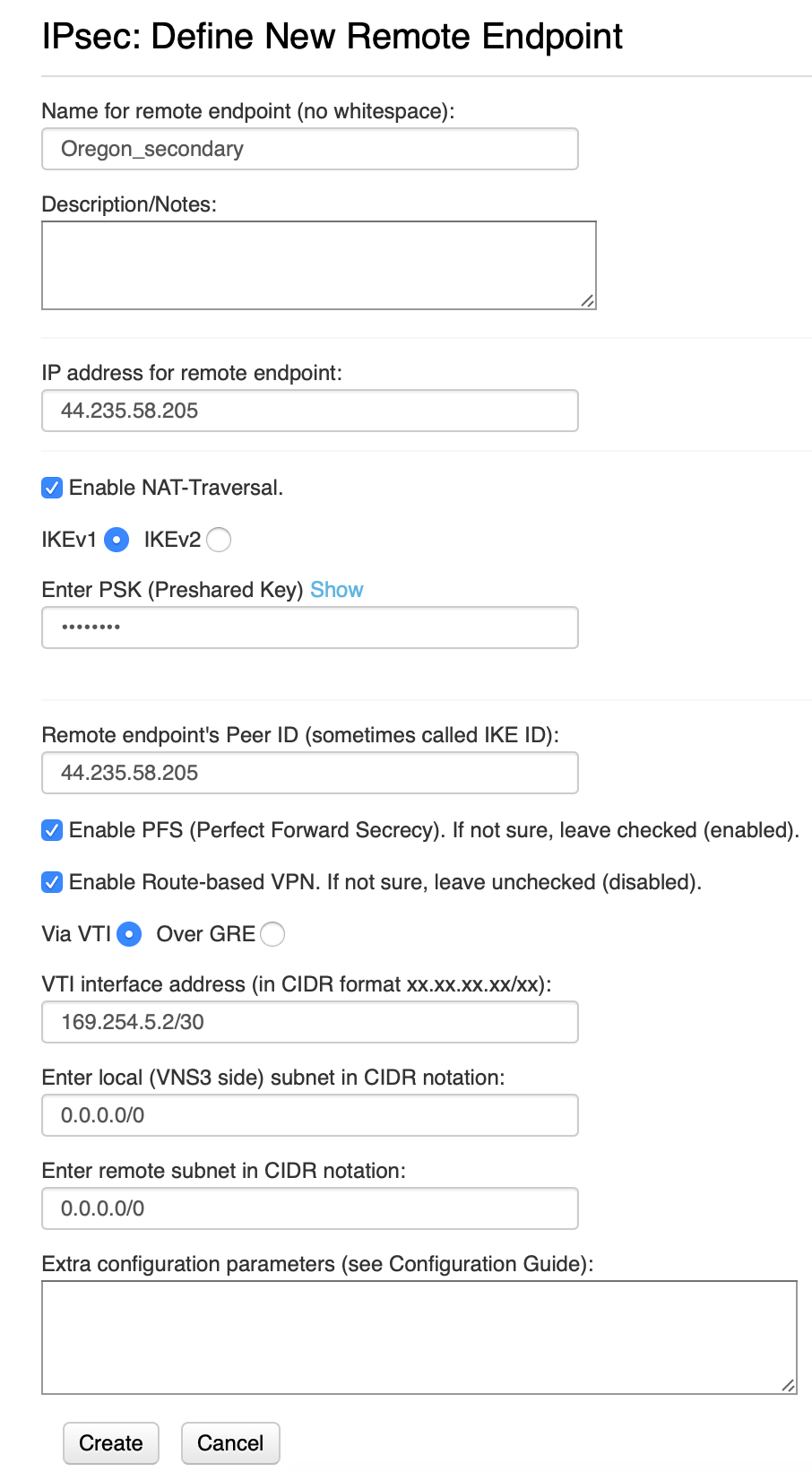 VNS3 Secondary to customer endpoint configuration