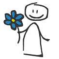 Fichier à broder gratuit :Bonhomme avec fleur