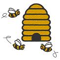 Fichier à broder gratuit :Ruche avec abeilles