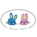 Fichier à broder gratuit :Deux petits lapins souhaitent Joyeuses Pâques