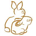 Fichier à broder gratuit :Deux lapins