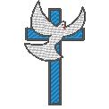 Fichier à broder gratuit :Pigeon blanc devant croix