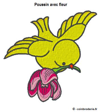 20170405 - Poussin avec fleur - coinbroderie.fr