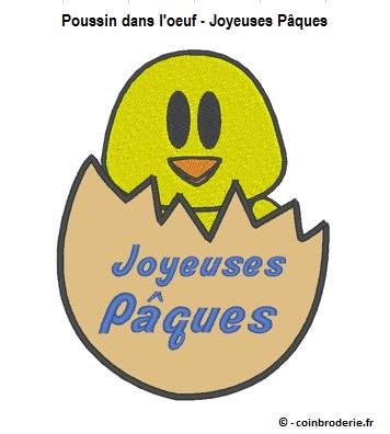 20170409 - Poussin dans loeuf - Joyeuses Paques - coinbroderie.fr