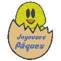 Fichier à broder gratuit :Poussin dans l'oeuf - Joyeuses Pâques