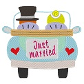 Freebie Stickdatei:Voiture Just married