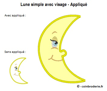 20170713 - Lune simple avec visage - Applique - coinbroderie.fr
