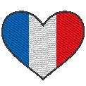 Fichier à broder gratuit :Drapeau Coeur France