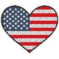 Fichier à broder gratuit :Drapeau Coeur Etats-Unis