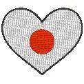 Fichier à broder gratuit :Drapeau Coeur Japon