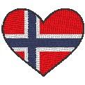 Fichier à broder gratuit :Drapeau Coeur Norvège