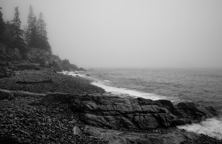 Acadia national park maine schoodic peninsula fog atlantic ocean