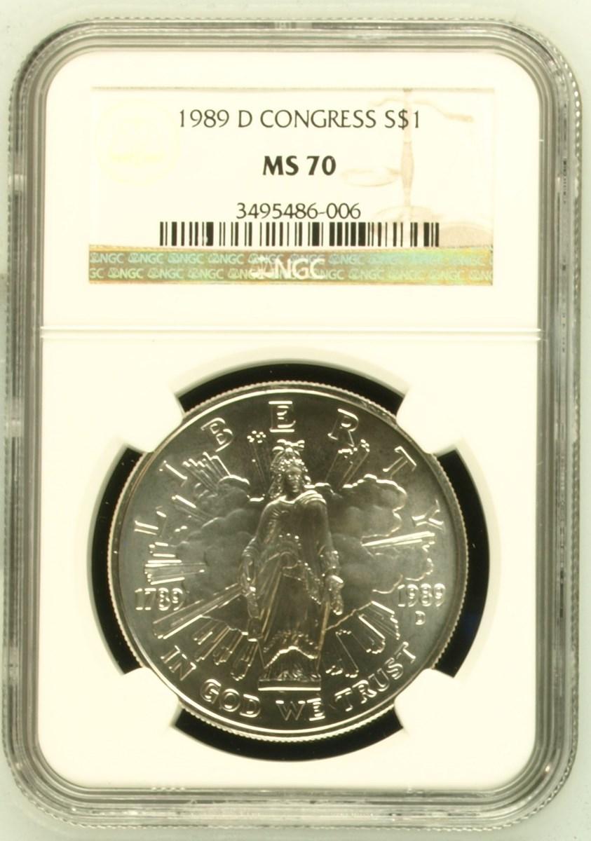 1989-D $1 Congress Bicentennial Commemorative Silver Dollar Choice Uncirculated