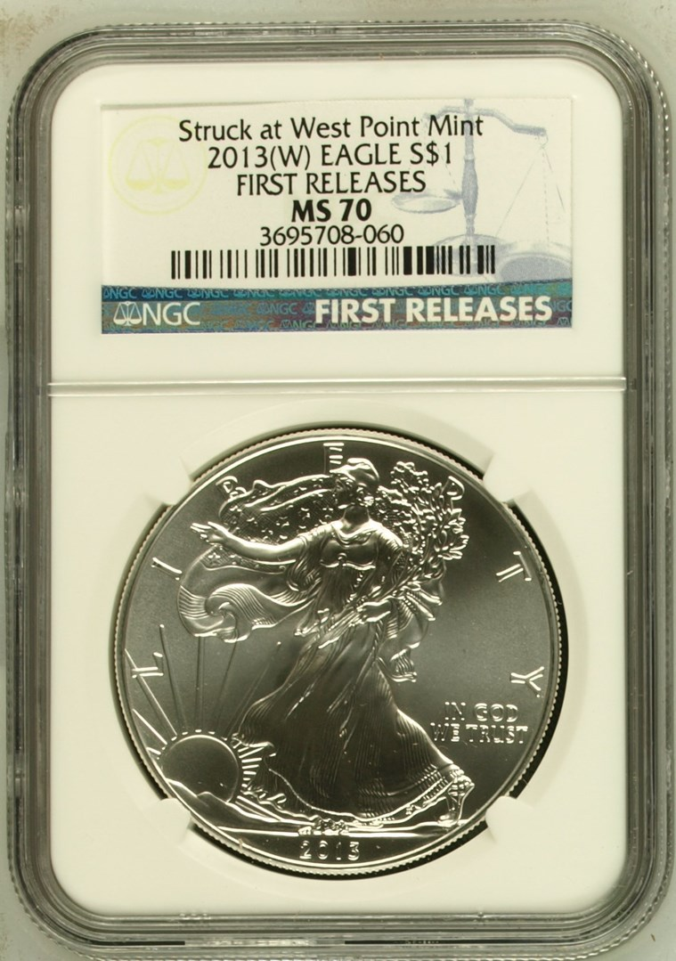 2013 US Silver Eagle $1 Dollar FIRST RELEASES NGC MS 70