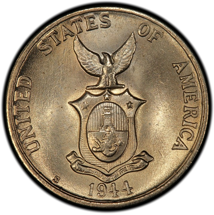 Five Centavos 1944-1945 Wartime Alloy Coin Details - USA/Philippines