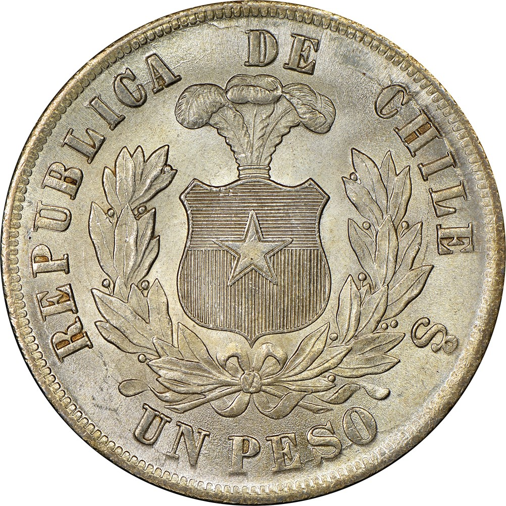 Chile 1884 Peso Coin Details Crowns From The Americas