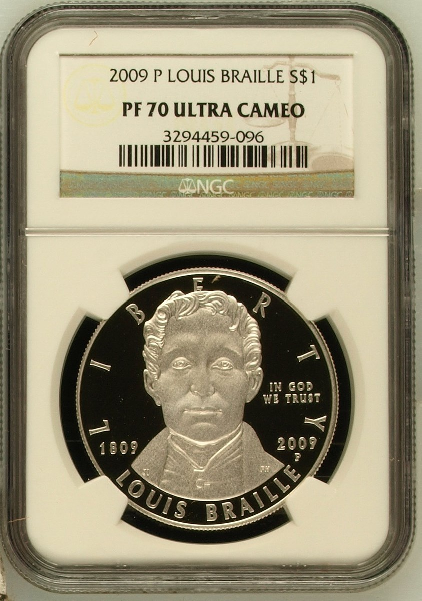 2009 P Louis Braille Commemorative Silver Dollar NGC PF 69 Ultra Cameo