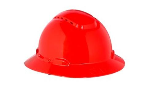 3M H-800V Series Full Brim Vented Hard Hat w/ 4-Point Ratchet System - Red