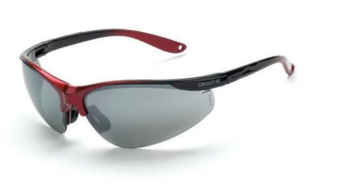 Radians Crossfire Brigade Safety Glasses -  Silver Mirror Lens,  Shiny Red/Black Frame