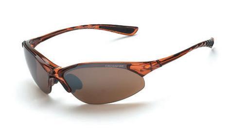 Radians Crossfire Cobra Safety Glasses - Brown Mirror HD Lens, Crystal Frame