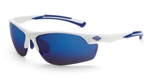 Radians Crossfire AR3 Safety Glasses - Blue Mirror Lens, White Frame