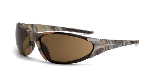 Radians Crossfire Core Safety Glasses - HD Brown Lens, Woodland Camo Frame