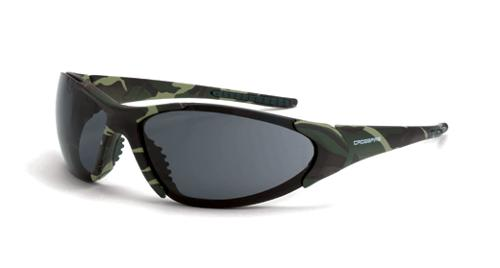 Radians Crossfire Core Safety Glasses - Smoke Lens, Military Camo Frame
