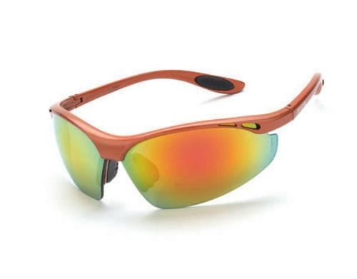 Radians Crossfire Safety Glasses - Talon Red Mirror Lens, Copper Frame