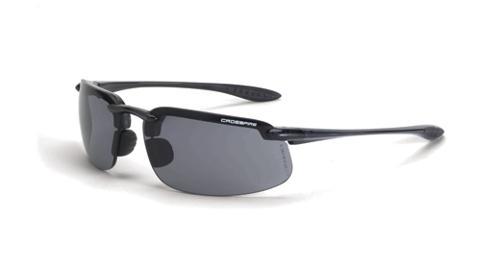 Radians Crossfire ES4 Safety Glasses - Smoke Lens, Crystal Black Frame