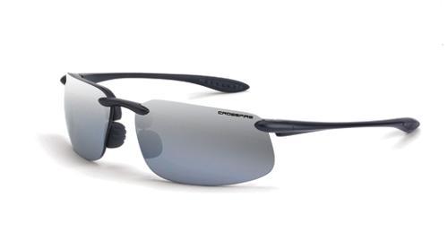 Radians Crossfire ES4 Safety Glasses - Silver Mirror Polarized Lens, Crystal Black Frame