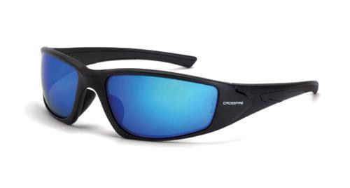 Radians Crossfire RPG Safety Glasses - HD Blue Mirror Polarized Lens, Black Frame