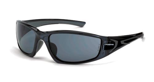 Radians Crossfire RPG Safety Glasses - Smoke Lens, Crystal Black Frame