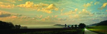 Farm And Fog Panorama by Dennis Newton