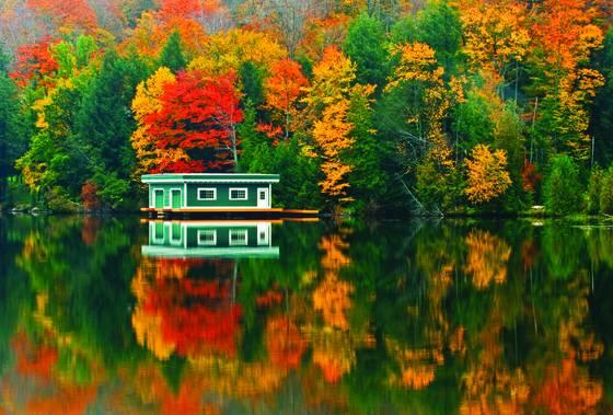 Boathouse reflection